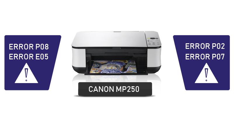 حل پیام خطای P02 در چاپگرهای Canon MP250